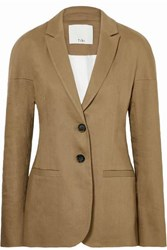 Tibi Linen Blend Twill Blazer Army Green