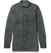 Massimo Alba Watercolour Dyed Washed Ramie Shirt Green