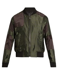 Wooyoungmi Striped Satin Bomber Jacket Khaki