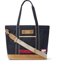 Master Piece Suede Trimmed Nylon Tote Bag Midnight Blue