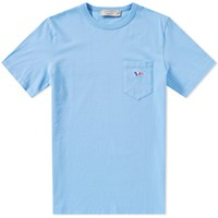 Maison Kitsune Tricolour Fox Pocket Tee Blue