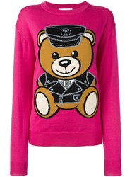 Moschino Biker Teddy Bear Jumper Pink And Purple