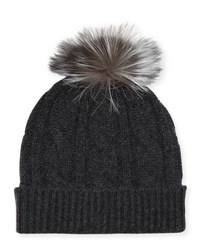 Neiman Marcus Cable Knit Hat With Fox Fur Pompom Charcoal
