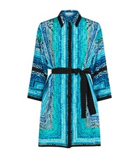 Gottex Belted Silk Dress Female Blue