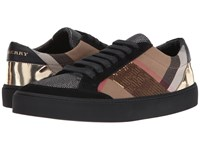 Burberry Salmond House Check Gold Women's Lace Up Casual Shoes Beige