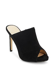 Saks Fifth Avenue Peep Toe Suede Mules Black