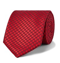 Charvet 7.5Cm Houndstooth Silk And Wool Blend Tie Red