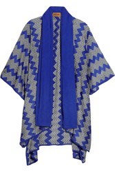 Missoni Draped Crochet Knit Wrap Blue