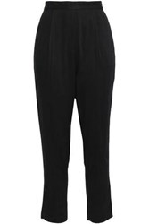 American Vintage Woman Cropped Twill Tapered Pants Black