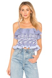 Endless Rose Smocked Ruffle Top Blue