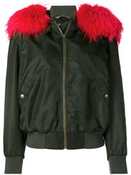 Mr And Mrs Italy Racoon Fur Trimmed Hooded Bomber Green
