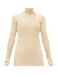 Jil Sander High Neck Cashmere Blend Ribbed Sweater Natural 9501