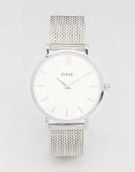 Cluse Minuit Cl30009 Mesh Strap Watch In Silver