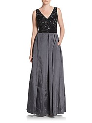 Adrianna Papell Beaded Taffeta Gown Black Gunmetal