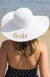 Cathy's Concepts Women's Bride Sequin Straw Hat Metallic Gold