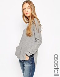 Asos Tall Ultimate Chunky Jumper With V Neck And Side Splits Greymarl
