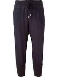 Armani Jeans Cropped Track Trousers Blue