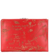 Balenciaga Essential Pouch Embossed Leather Clutch Red