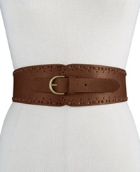 Inc International Concepts Whipstitch Tapered Stretch Belt Only At Macy's Brown