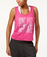 Gaiam Don't Hate Cropped Graphic Tank Top Pink Glow