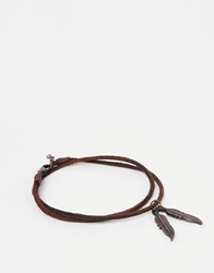 Asos Anklet With Feather In Brown