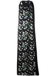 Paco Rabanne Floral Print Long Dress Black