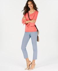 Charter Club Pure Cashmere V Neck Tie Sleeve Sweater Watermelon Sorbet
