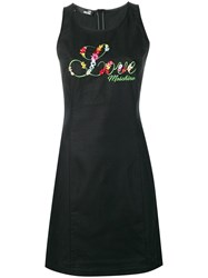 Love Moschino Embroidered Floral Fitted Dress Black