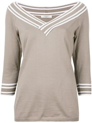 Charlott V Neck Jumper Brown