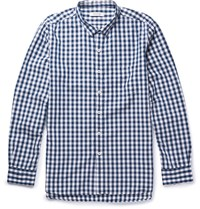 Nonnative Dweller Button Down Collar Gingham Cotton Blend Shirt Navy