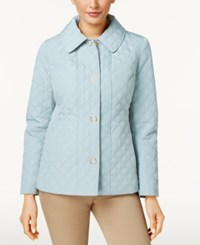 Anne Klein Quilted Snap Front Coat Slate