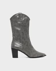 Charles And Keith Block Heel Western Boots Grey