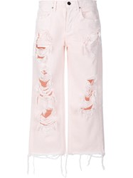 Alexander Wang T By Distressed Cropped Jeans Pink Purple