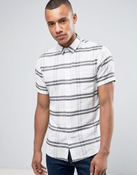 Solid Short Sleeved Shirt In Large Check Beige