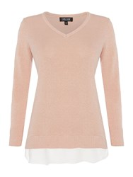 Episode Faux Layer Knit Top Blush