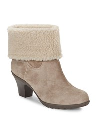 Anne Klein Heward Sherpa Lined Suede Booties Taupe