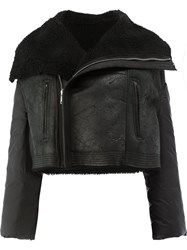 Rick Owens Shearling Biker Jacker Women Cotton Sheep Skin Shearling Feather Goose Down 38 Black