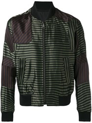 Wooyoungmi Striped Bomber Jacket Men Polyester Rayon Viscose 48 Green