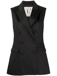 L'autre Chose Sleeveless Double Breasted Blazer Black