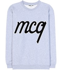 Mcq By Alexander Mcqueen Embellished Cotton Sweatshirt Grey