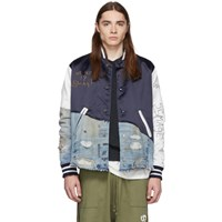 Greg Lauren Navy 50 50 Satin Denim Varsity Jacket
