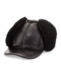Prada Leather And Shearling Trapper Baseball Cap Black