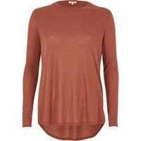 River Island Womens Copper Brown Basic Top