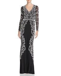 Aqua Bead Embellished Gown Black White Silver