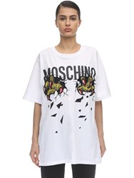 Moschino Over Monster Print Cotton Jersey T Shirt White