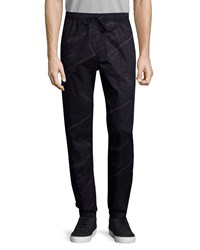 Hudson Jeans Elliot Printed Drawstring Pants Black