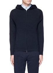 Theory 'Melker' Waffle Knit Zip Front Sweater Blue