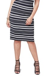 Rachel Roy Plus Size Women's Stripe Stretch Knit Pencil Skirt