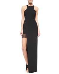 Elizabeth And James Tegan High Slit Chiffon Maxi Dress Black