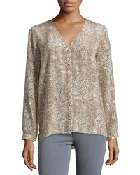 Joie Michi Animal Print Silk Blouse Fawn